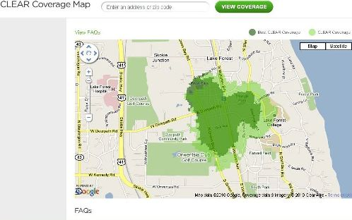Clearwire Map Showing Single Tower Bloom Of Coverage Using Three Channels